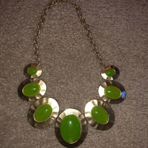 Lime Green and Gold Accent Necklace and Earrings
